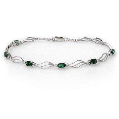 Genuine 2.02 ctw Emerald & Diamond Bracelet White Gold
