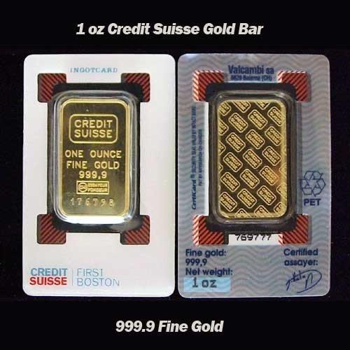 1 oz Credit Suisse Gold Bar 999.9 Fine Gold