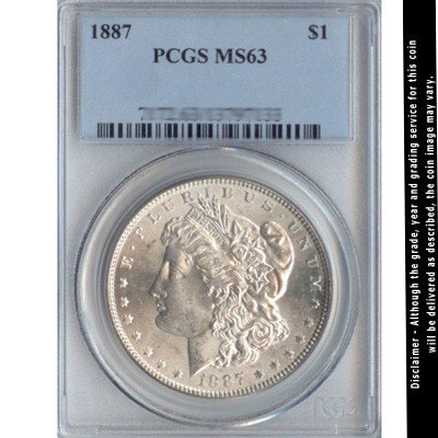 1887 Silver Dollar PCGS Certified MS63