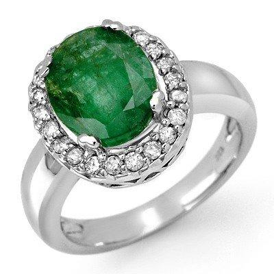 Genuine 4.4 ctw Emerald & Diamond Ring 10K White Gold -