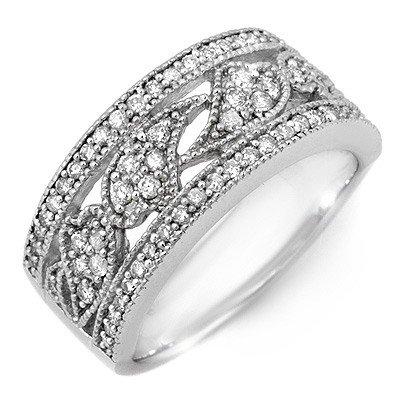 Natural 0.75 ctw Diamond Ring 10K White Gold - Retails