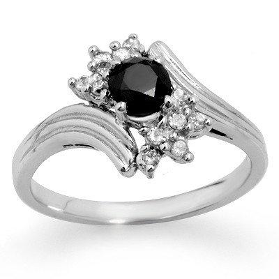 Natural 0.75 ctw White & Black Diamond Ring 10K Gold *