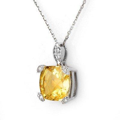 Genuine 5.1 ctw Citrine & Diamond Necklace White Gold -