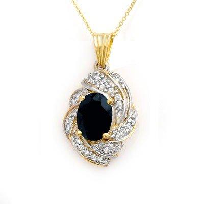 Genuine 3.88 ctw Sapphire & Diamond Pendant 14K Gold *