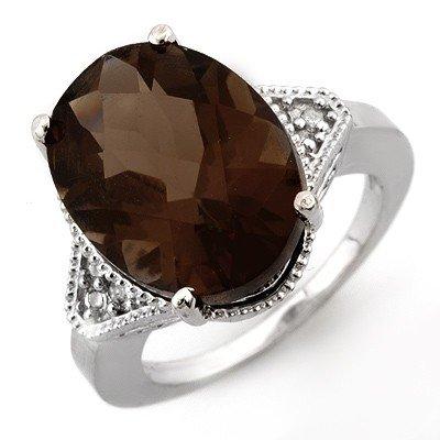 Genuine 9.18 ctw Smoky Topaz & Diamond Ring 14K Gold -