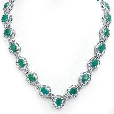 Genuine 37.7 ctw Emerald & Diamond Necklace White Gold