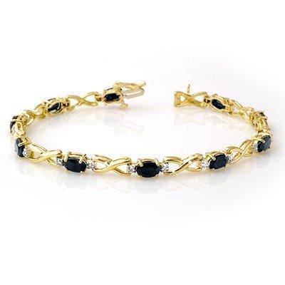 Genuine 7.0 ctw Sapphire & Diamond Bracelet Yellow Gold