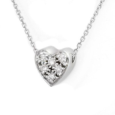 Natural 0.20 ctw Diamond Necklace 14K White Gold -