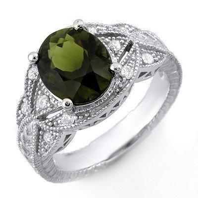 Genuine 3.25 ctw Green Tourmaline & Diamond Ring Gold -