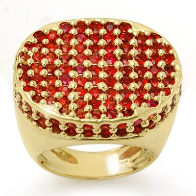 Genuine 7.0 ctw Red Sapphire Ring 14K Yellow Gold -