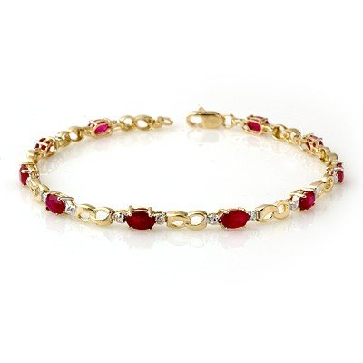 Genuine 3.76 ctw Ruby & Diamond Bracelet Yellow Gold *