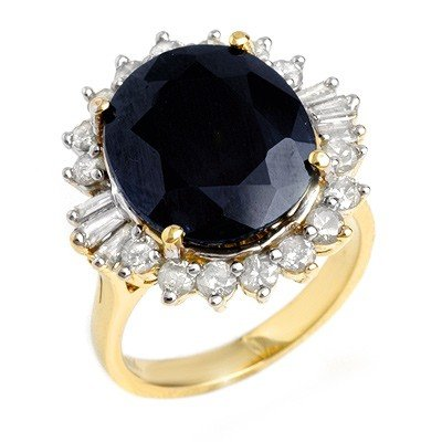 Genuine 14.02 ctw Sapphire & Diamond Ring Yellow Gold *