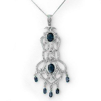 Genuine 8.15 ctw Sapphire & Diamond Necklace 14K Gold -