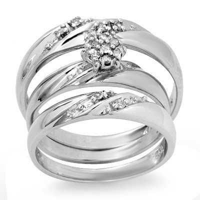 Natural 0.12 ctw Diamond Ring 10K White Gold *