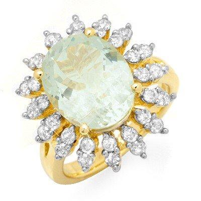 Genuine 6.08 ctw Aquamarine & Diamond Ring 14K Gold *