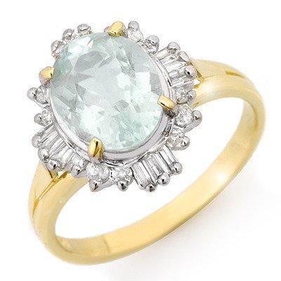 Genuine 2.53 ctw Aquamarine & Diamond Ring 10K Gold *