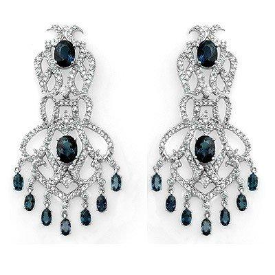 Genuine 17.6 ctw Sapphire & Diamond Earrings 14K Gold -