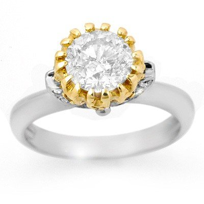 Natural 1.65 ctw Diamond Ring 14K Multi tone Gold -