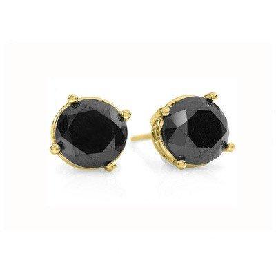 Natural 1.50 ctw Black Diamond Stud Earrings 14K Gold *