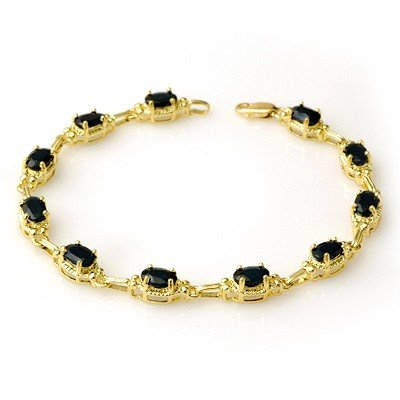 Genuine 7.33 ctw Sapphire Bracelet 10K Yellow Gold *