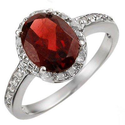 Genuine 2.10 ctw Garnet & Diamond Ring 10K White Gold -