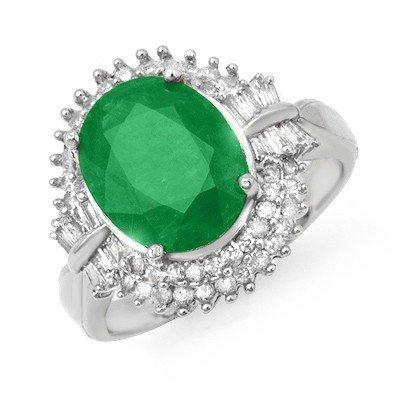 Genuine 5.04 ctw Emerald & Diamond Ring 14K White Gold