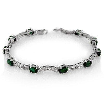 Genuine 4.25 ctw Emerald & Diamond Bracelet White Gold