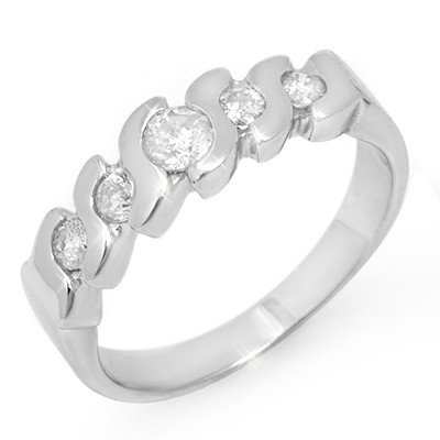 Natural 0.50 ctw Diamond Ring 14K White Gold -