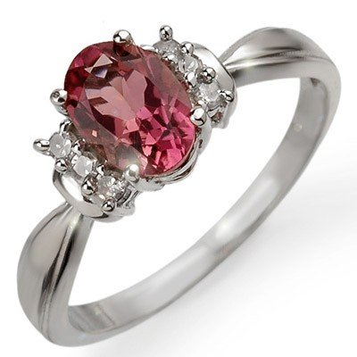 Genuine 1.06ctw Pink Tourmaline & Diamond Ring 10K Gold