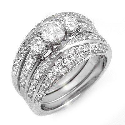 Natural 2.50 ctw Diamond Ring 14K White Gold -