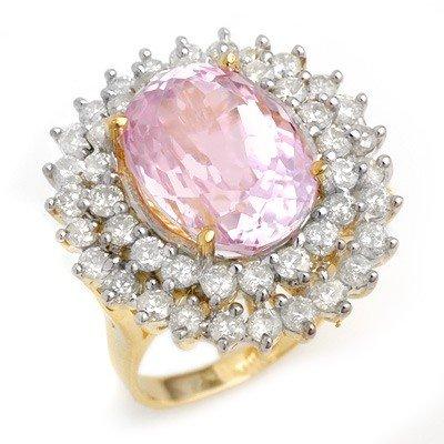 Genuine 12.08ctw Kunzite & Diamond Ring 14K Yellow Gold