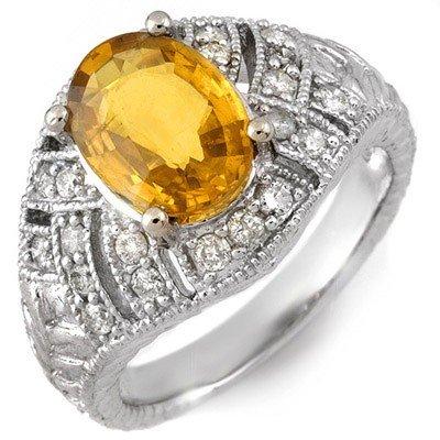 Genuine 3.6 ctw Yellow Sapphire & Diamond Ring 14K Gold