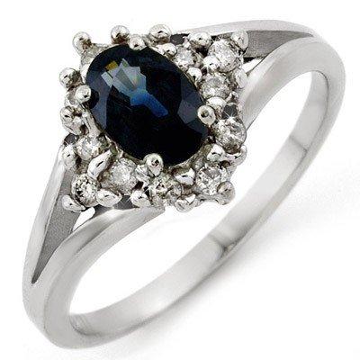 Genuine 1.05 ctw Blue Sapphire & Diamond Ring 10K Gold