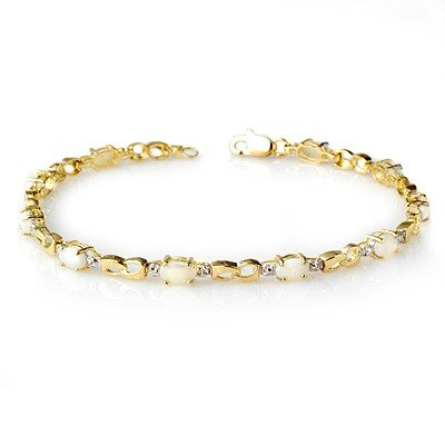 Genuine 1.26 ctw Opal & Diamond Bracelet Yellow Gold *