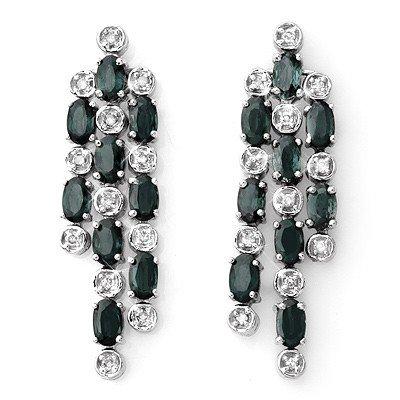 Genuine 6.33 ctw Blue Sapphire & Diamond Earrings Gold