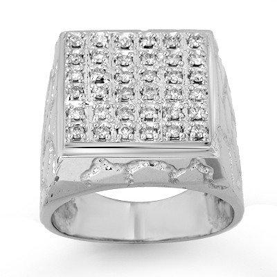 Natural 1.0 ctw Diamond Men's Ring 14K White Gold * MSR