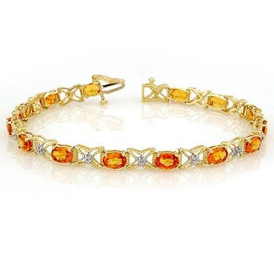 Genuine 10.15ct Orange Sapphire & Diamond Bracelet Gold