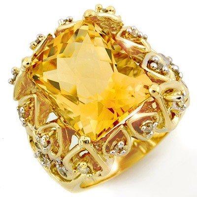 Genuine 11.4 ctw Citrine & Diamond Ring 10K Yellow Gold