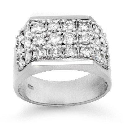 Natural 2.0 ctw Diamond Men's Ring 14K White Gold * MSR