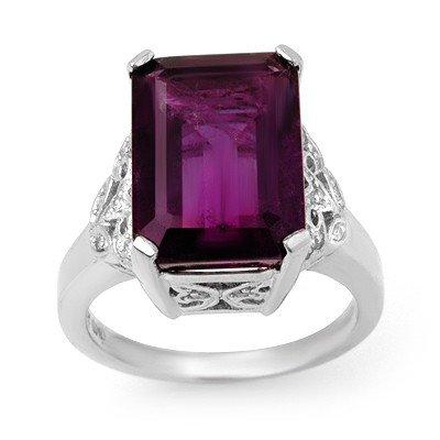 Genuine 8.20 ctw Amethyst & Diamond Ring 14K White Gold