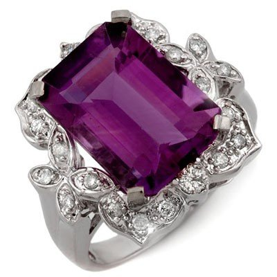 Genuine 9.25 ctw Amethyst & Diamond Ring 14K White Gold