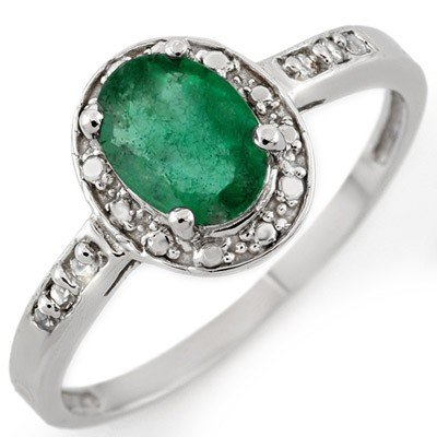 Genuine 0.85 ctw Emerald & Diamond Ring 10K White Gold