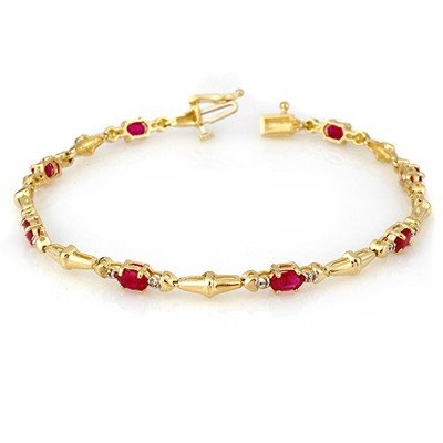Genuine 2.75 ctw Ruby & Diamond Bracelet Yellow Gold -