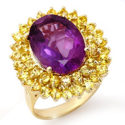 Genuine 10.25 ctw Yellow Sapphire & Amethyst Ring Gold
