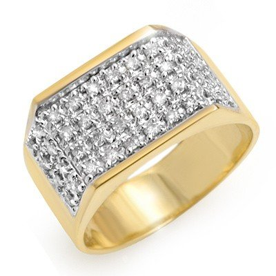 Natural 1.0 ctw Diamond Men's Ring 10K Yellow Gold *