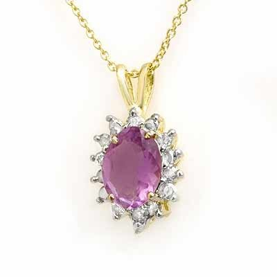 Genuine 1.0 ctw Amethyst & Diamond Pendant Yellow Gold