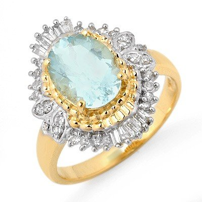 Genuine 2.48 ctw Aquamarine & Diamond Ring 14K Gold -