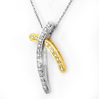 Natural 0.50 ctw Diamond Necklace 14K Multi tone Gold -
