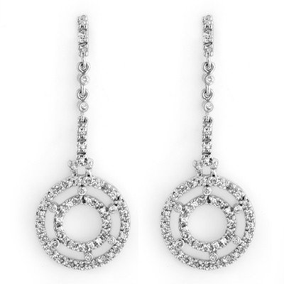 Natural 1.0 ctw Diamond Earrings 14K White Gold -