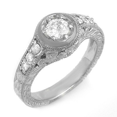 Natural 0.70 ctw Diamond Ring 14K White Gold *